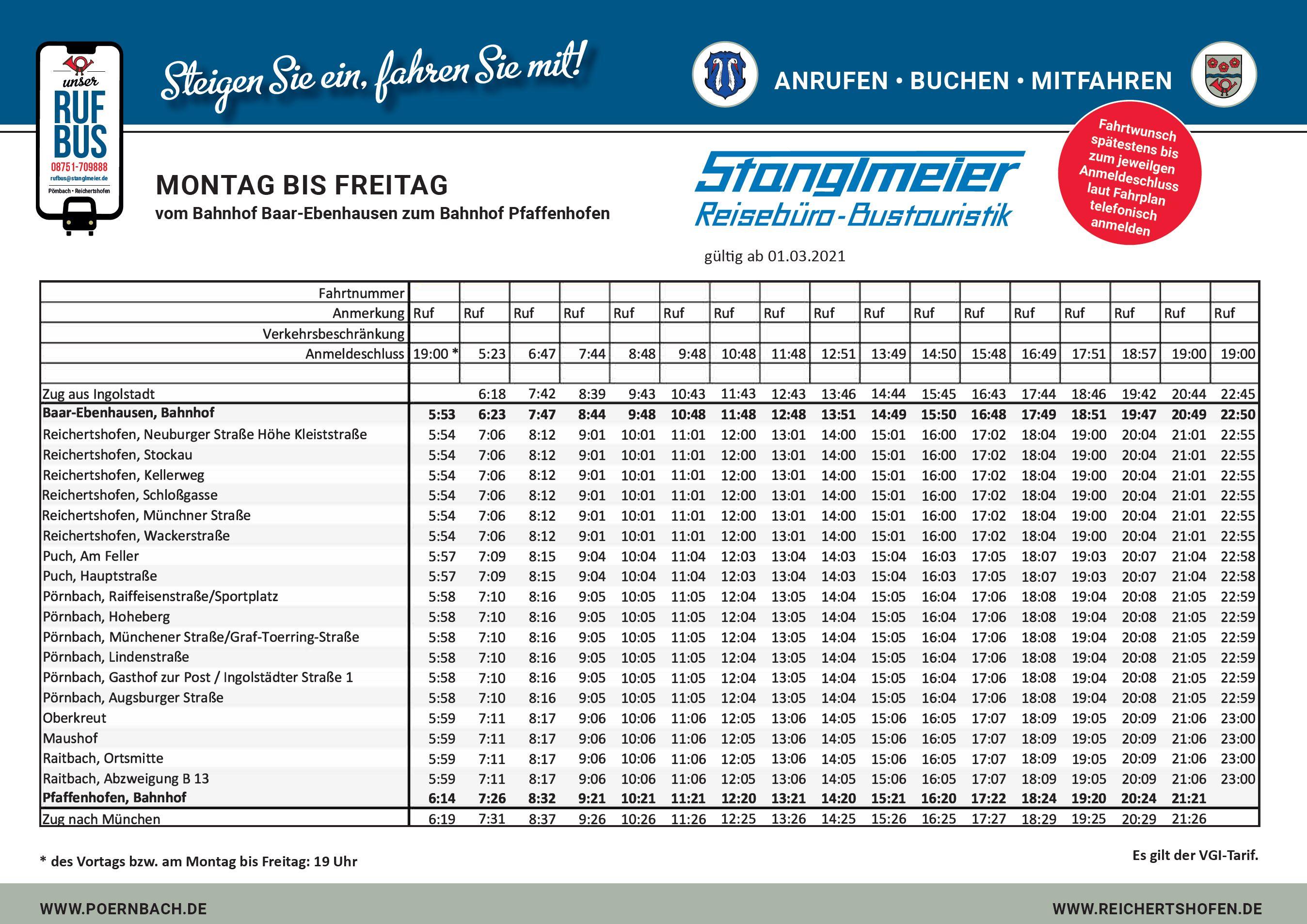 Rufbus Fahrplan Montag bis Freitag Baar-Ebenhausen Pfaffenhofen