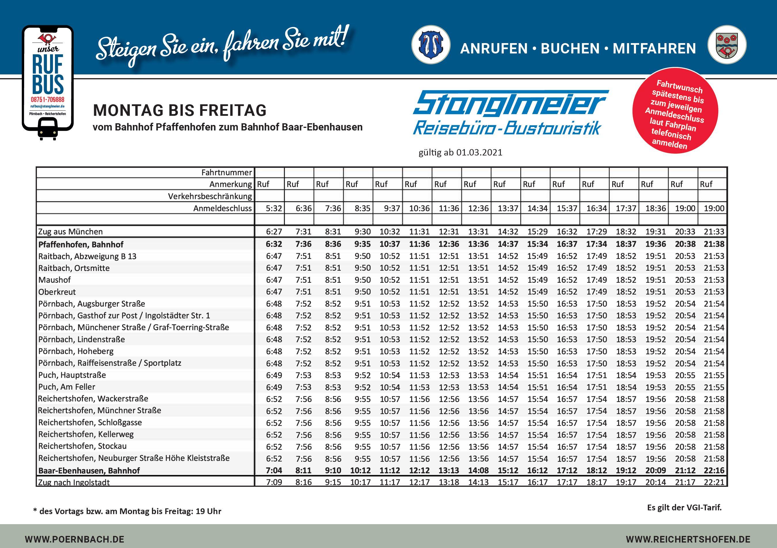 Rufbus Fahrplan Montag bis Freitag Pfaffenhofen Baar-Ebenhausen